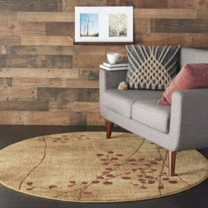 5 Feet Beige Round Rug With the Burgundy Accents: