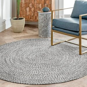 8 Feet Braided Ultimate Gray Round Area Rug: