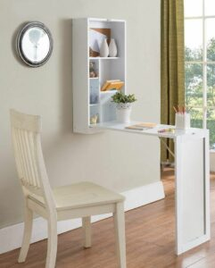 Fold-Out Wall-Mount Mirror Desk