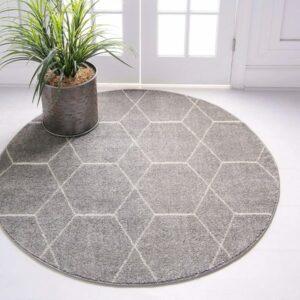 4 Feet Grey Round Rug: