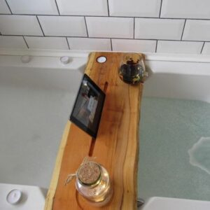 Double Live Edge Solid Yew Wood Bath Caddy
