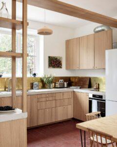 Brass Backsplash + Wood Surfaces