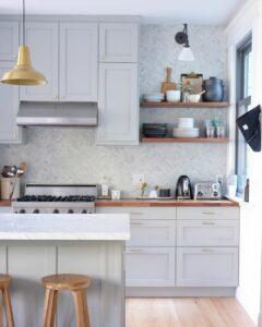 Up-the-Wall Tile Backsplash + Cool Gray Paint