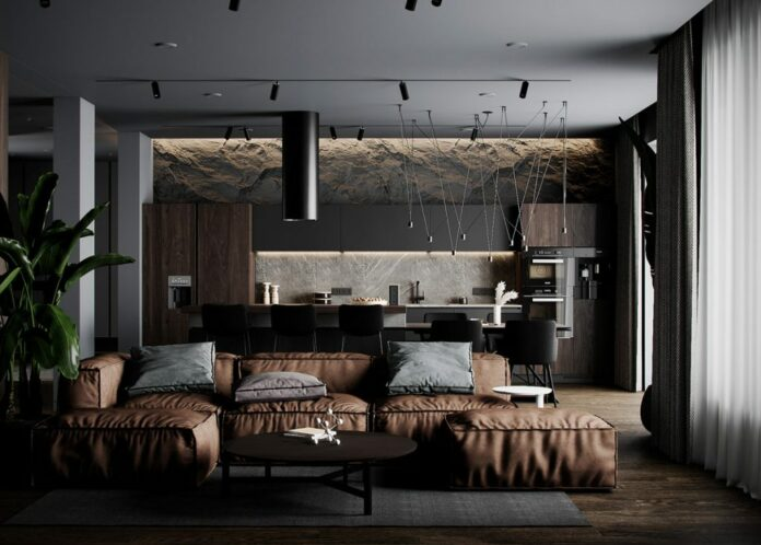 apartment with rocky accent walls
